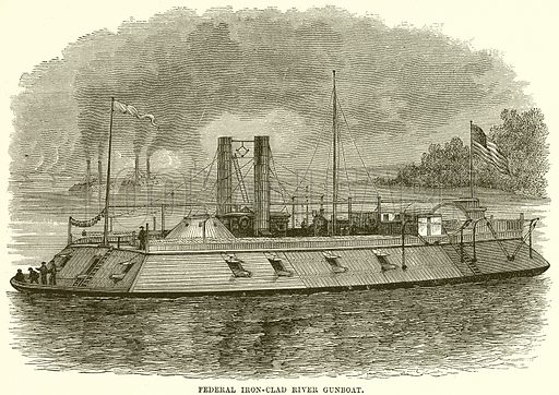 Federal Iron-Clad River Gunboat. Illustration from Cassell's History of the United States by Edward Ollier (c 1900).