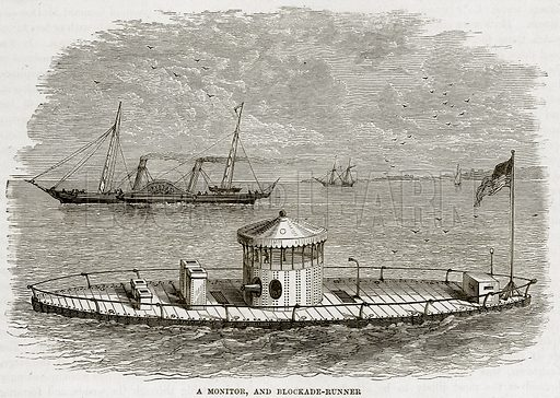 A monitor, and blockade-runner. Illustration from Cassell's History of the United States by Edward Ollier (c 1900).