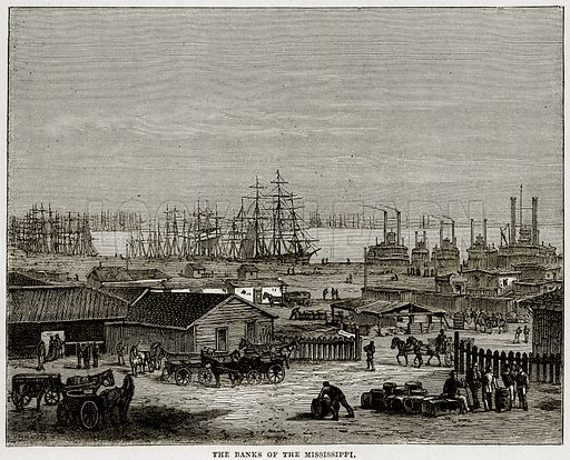 The banks of the Mississippi. Illustration from Cassell