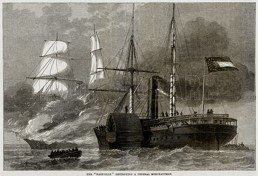 "The ""Nashville"" destroying a Federal Merchantman. Illustration from Cassell's History of the United States by Edward Ollier (c 1900)."