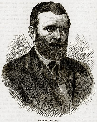 General Grant. Illustration from Cassell's History of the United States by Edward Ollier (c 1900).