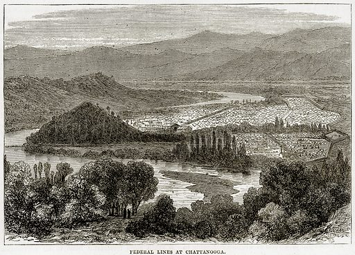 Federal lines at Chattanooga. Illustration from Cassell