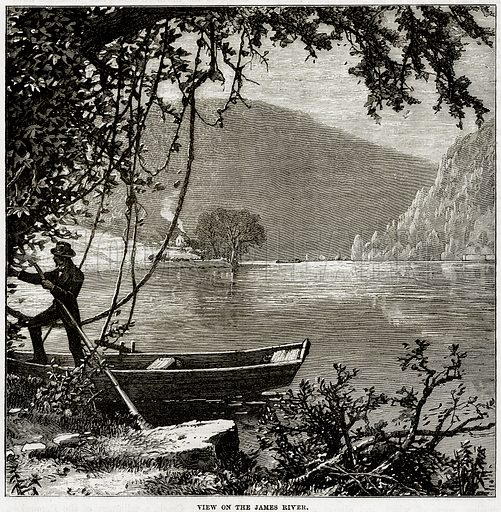 View on the James River. Illustration from Cassell