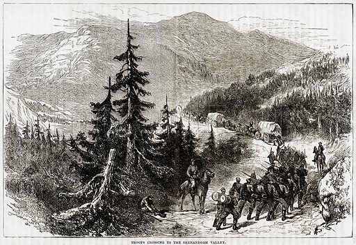 Troops crossing to the Shenandoah valley. Illustration from Cassell