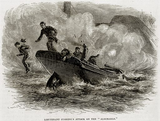 """Lieutenant Cushing's Attack on the """"Albemarle."""" Illustration from Cassell's History of the United States by Edward Ollier (c 1900)."""