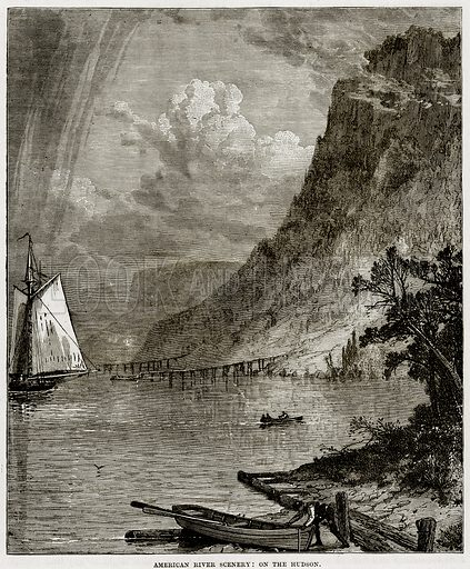 American River Scenery: On the Hudson. Illustration from Cassell
