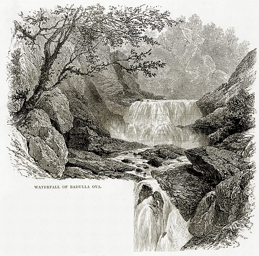 Waterfall of Badulla Oya. Illustration from Indian Pictures by W Urwick (Religious Tract Society, c 1870).