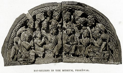 Bas-Reliefs in the Museum, Peshawar. Illustration from Indian Pictures by W Urwick (Religious Tract Society, c 1870).