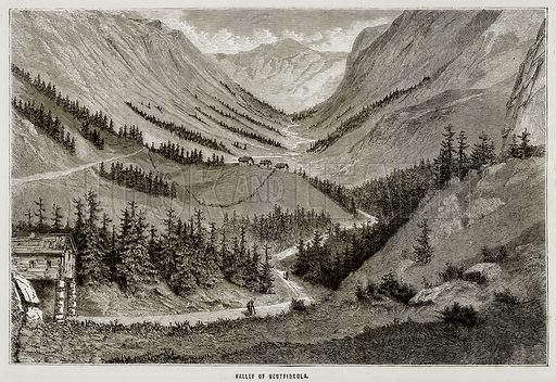 Valley of Vestfiordla. Illustration from All Round the World, Second Series (c 1870).