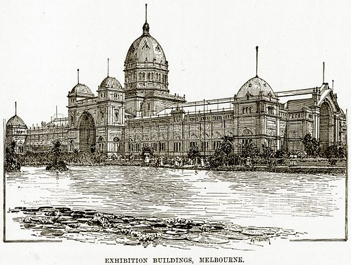 Exhibition Buildings, Melbourne. Illustration from Cassell's Picturesque Australasia by E E Morris (c 1889).