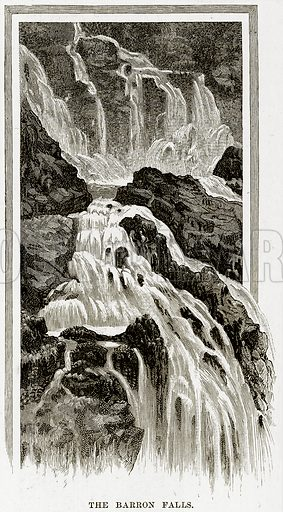 The Barron falls. Illustration from Cassell's Picturesque Australasia by EE Morris (c 1889).