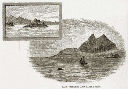 Cape Flinders and Castle Rock. Illustration from Cassell's Picturesque Australasia by EE Morris (c 1889).
