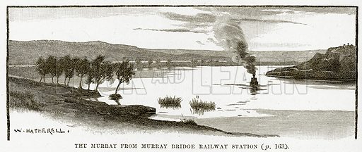 The Murray from Murray Bridge Railway Station. Illustration from Cassell's Picturesque Australasia by EE Morris (c 1889).