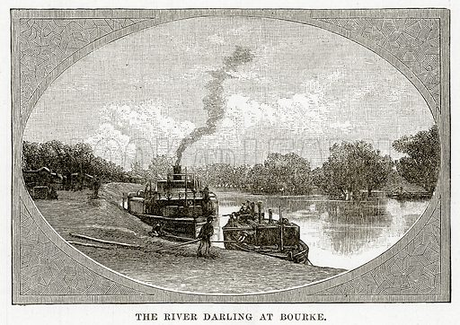 The River Darling at Bourke. Illustration from Cassell's Picturesque Australasia by EE Morris (c 1889).