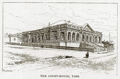 The Court-House, Yass. Illustration from Cassell's Picturesque Australasia by EE Morris (c 1889).