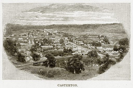Casterton. Illustration from Cassell's Picturesque Australasia by EE Morris (c 1889).