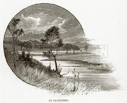 At Cavendish. Illustration from Cassell's Picturesque Australasia by EE Morris (c 1889).