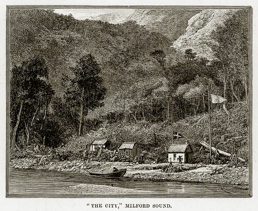 """""""The City,"""" Milford sound. Illustration from Cassell's Picturesque Australasia by EE Morris (c 1889)."""