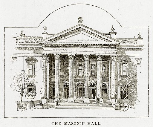 The Masonic Hall. Illustration from Cassell's Picturesque Australasia by EE Morris (c 1889).