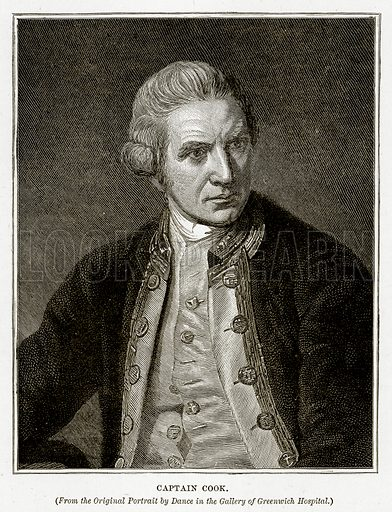 Captain Cook. Illustration from Cassell's Picturesque Australasia by EE Morris (c 1889).