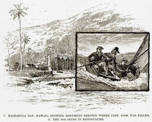 1. Kaleakula Bay, Hawaii, showing Monument erected where Capt. Cook was killed. 2. The Tom Thumb in difficulties. Illustration from Cassell's Picturesque Australasia by EE Morris (c 1889).