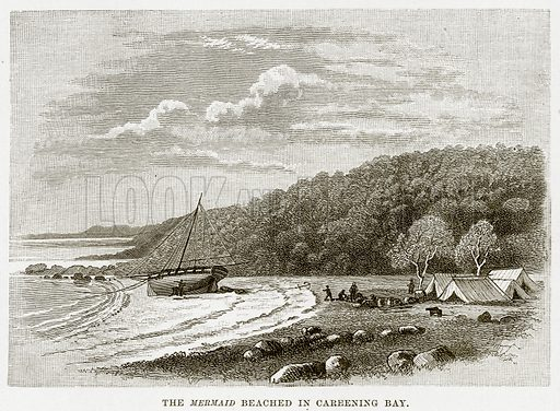 The Mermaid beached in Careening Bay. Illustration from Cassell's Picturesque Australasia by EE Morris (c 1889).