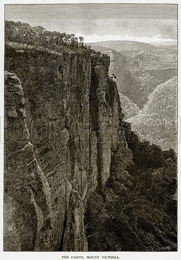 The Cliffs, Mount Victoria. Illustration from Cassell's Picturesque Australasia by EE Morris (c 1889).