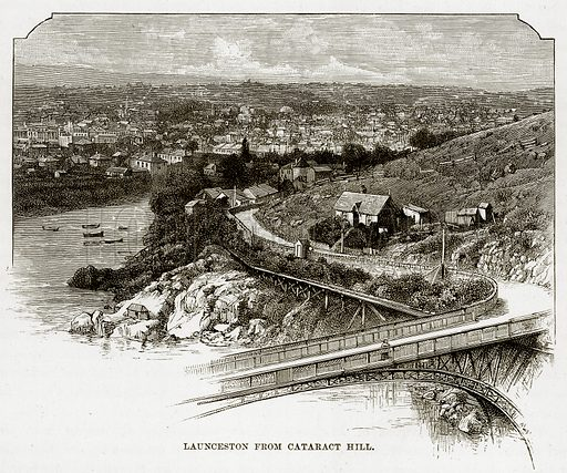 Launceston from Cataract Hill. Illustration from Cassell's Picturesque Australasia by EE Morris (c 1889).