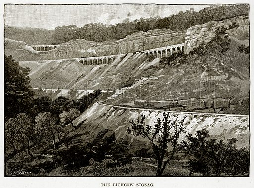 The Lithgow zigzag. Illustration from Cassell's Picturesque Australasia by EE Morris (c 1889).