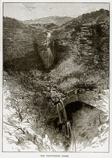 The Wentworth falls. Illustration from Cassell's Picturesque Australasia by EE Morris (c 1889).