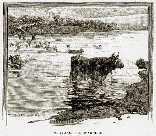 Crossing the Warrego. Illustration from Cassell's Picturesque Australasia by EE Morris (c 1889).