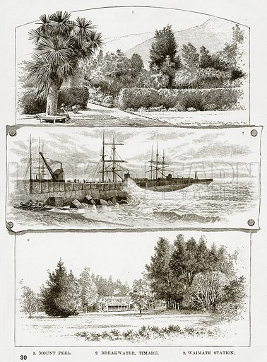 1. Mount Peel. 2. Breakwater, Timaru. 3. Waimate Station. Illustration from Cassell's Picturesque Australasia by EE Morris (c 1889).