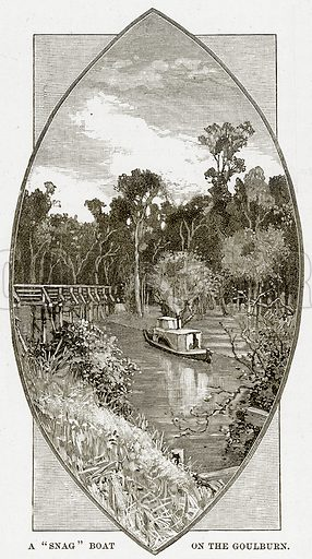 """A""""Snag"""" Boat on the Goulburn. Illustration from Cassell's Picturesque Australasia by EE Morris (c 1889)."""