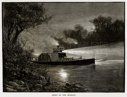 Night on the Murray. Illustration from Cassell's Picturesque Australasia by EE Morris (c 1889).
