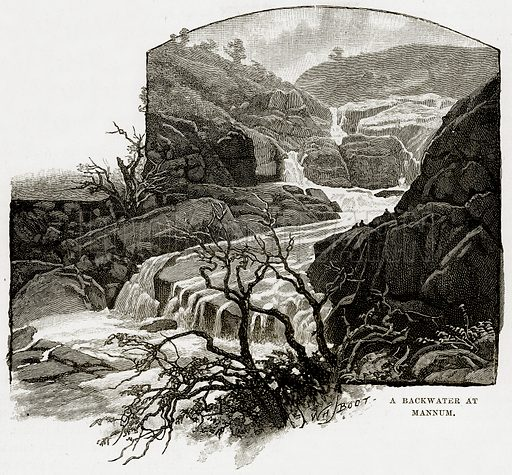 The backwater at Mannum. Illustration from Cassell's Picturesque Australasia by EE Morris (c 1889).