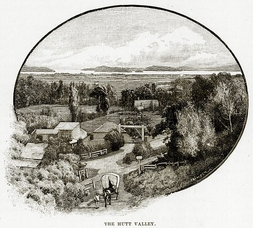 The Hutt Valley. Illustration from Cassell's Picturesque Australasia by EE Morris (c 1889).