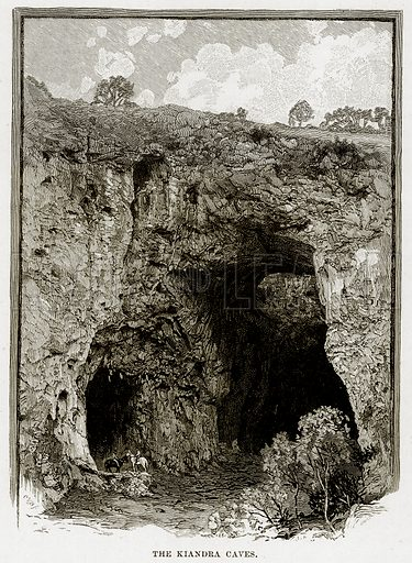The Kiandra Caves. Illustration from Cassell's Picturesque Australasia by EE Morris (c 1889).