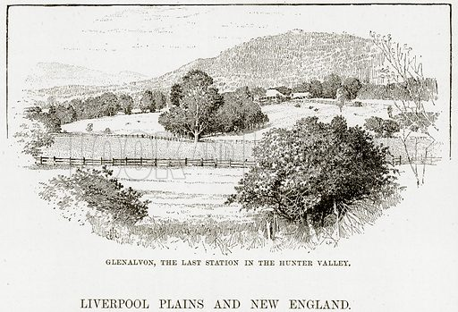 Glenalvon, the last Station in the Hunter Valley. (Liverpool Plains and New England). Illustration from Cassell's Picturesque Australasia by EE Morris (c 1889).