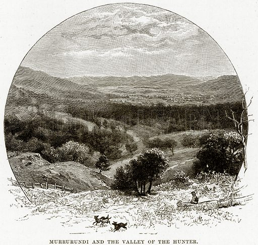 Murrurundi and the Valley of the Hunter. Illustration from Cassell's Picturesque Australasia by EE Morris (c 1889).