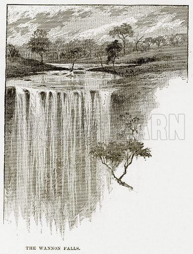 The Wannon falls. Illustration from Cassell's Picturesque Australasia by EE Morris (c 1889).
