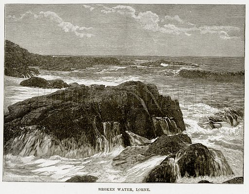 Broken water, Lorne. Illustration from Cassell's Picturesque Australasia by EE Morris (c 1889).