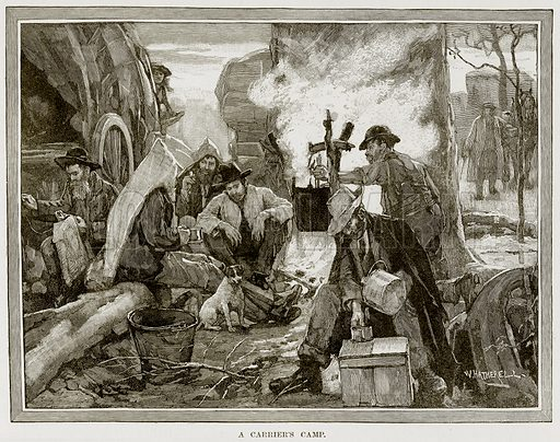 A Carrier's Camp. Illustration from Cassell's Picturesque Australasia by EE Morris (c 1889).