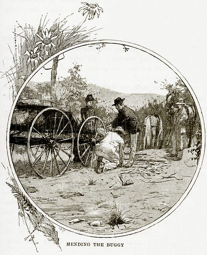Mending the Buggy. Illustration from Cassell's Picturesque Australasia by EE Morris (c 1889).