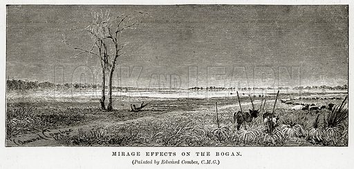Mirage effects on the Bogan. Illustration from Cassell's Picturesque Australasia by EE Morris (c 1889).