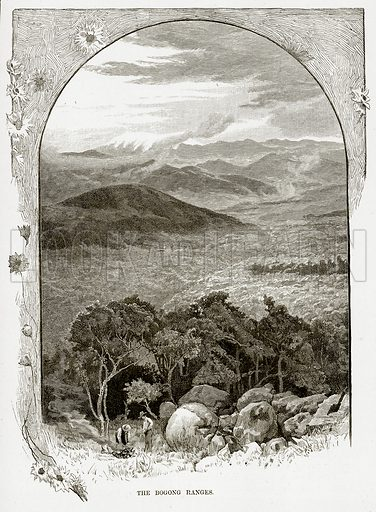 The Bogong Ranges. Illustration from Cassell's Picturesque Australasia by EE Morris (c 1889).