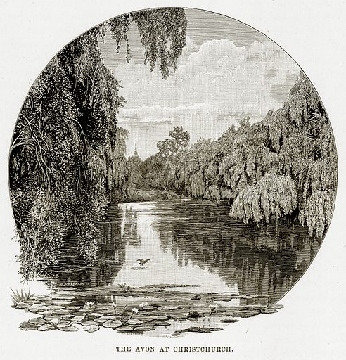 The Avon at Christchurch. Illustration from Cassell's Picturesque Australasia by EE Morris (c 1889).