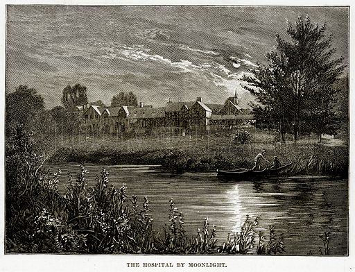 The Hospital by Moonlight. Illustration from Cassell's Picturesque Australasia by EE Morris (c 1889).