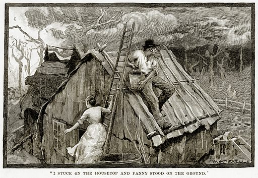 """""""I Stuck on the housetop and Fanny Stood on the Ground"""". Illustration from Cassell's Picturesque Australasia by EE Morris (c 1889)."""
