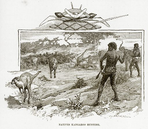 Natives Kangaroo hunting. Illustration from Cassell's Picturesque Australasia by EE Morris (c 1889).