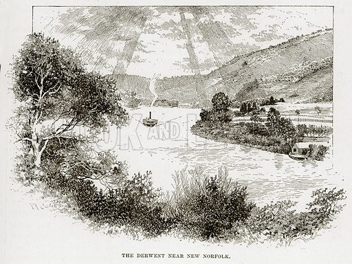 The Derwent near New Norfolk. Illustration from Cassell's Picturesque Australasia by EE Morris (c 1889).